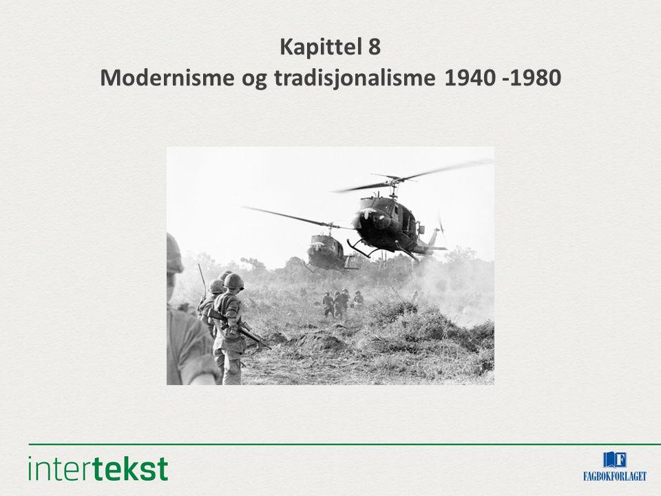Mål Kunne følge en tradisjonell og en modernistisk retning i norsk litteratur i tiden mellom 1940 og 1980 Forklare hva som kjennetegner modernismen og noen av modernismens ulike stilretninger Kunne peke på sentrale temaer og motiver i litteraturen fra tiden mellom 1940 og 1980 Sette noen av endringene i sammenheng med litteraturen fra samme periode