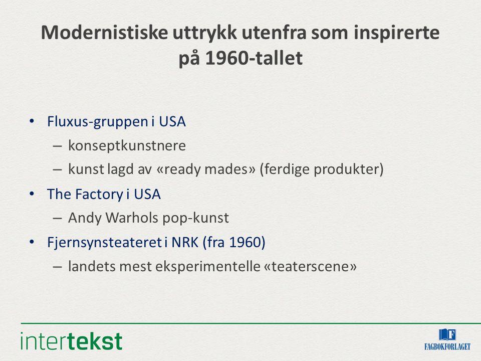 Modernistiske uttrykk utenfra som inspirerte på 1960-tallet Fluxus-gruppen i USA – konseptkunstnere – kunst lagd av «ready mades» (ferdige produkter) The Factory i USA – Andy Warhols pop-kunst Fjernsynsteateret i NRK (fra 1960) – landets mest eksperimentelle «teaterscene»