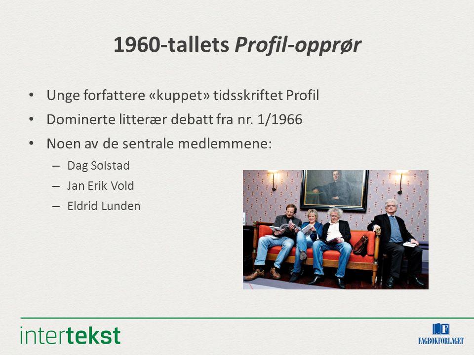 1960-tallets Profil-opprør Unge forfattere «kuppet» tidsskriftet Profil Dominerte litterær debatt fra nr.