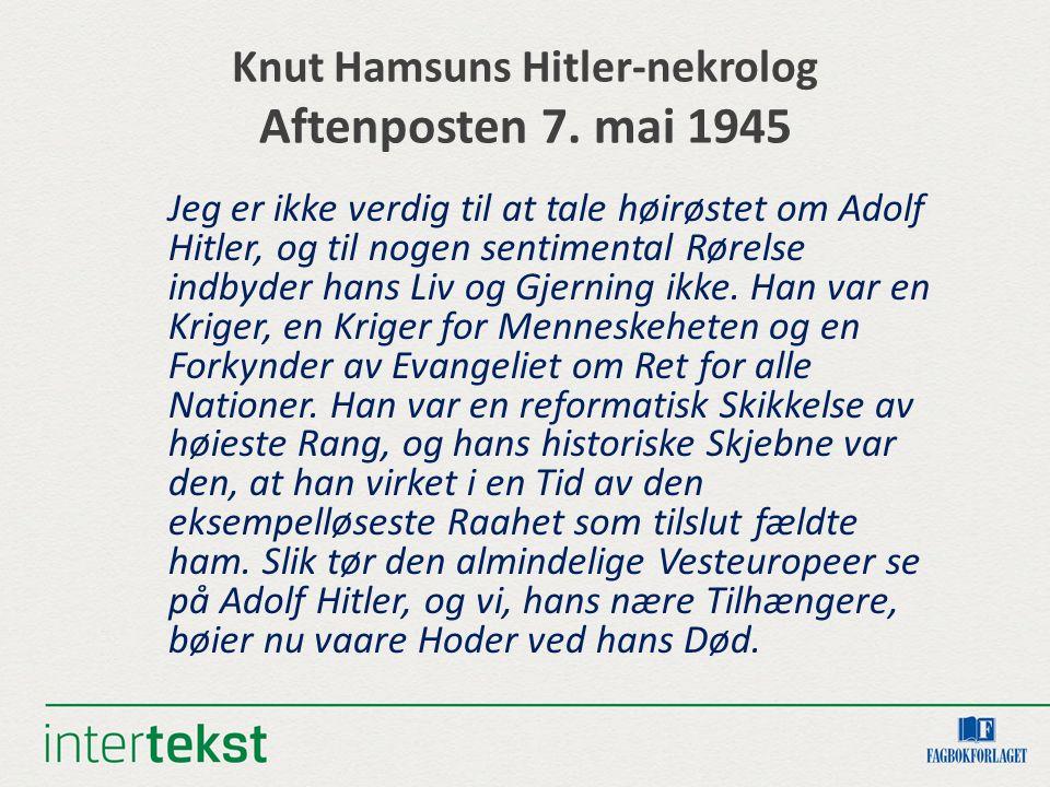 Knut Hamsuns Hitler-nekrolog Aftenposten 7.