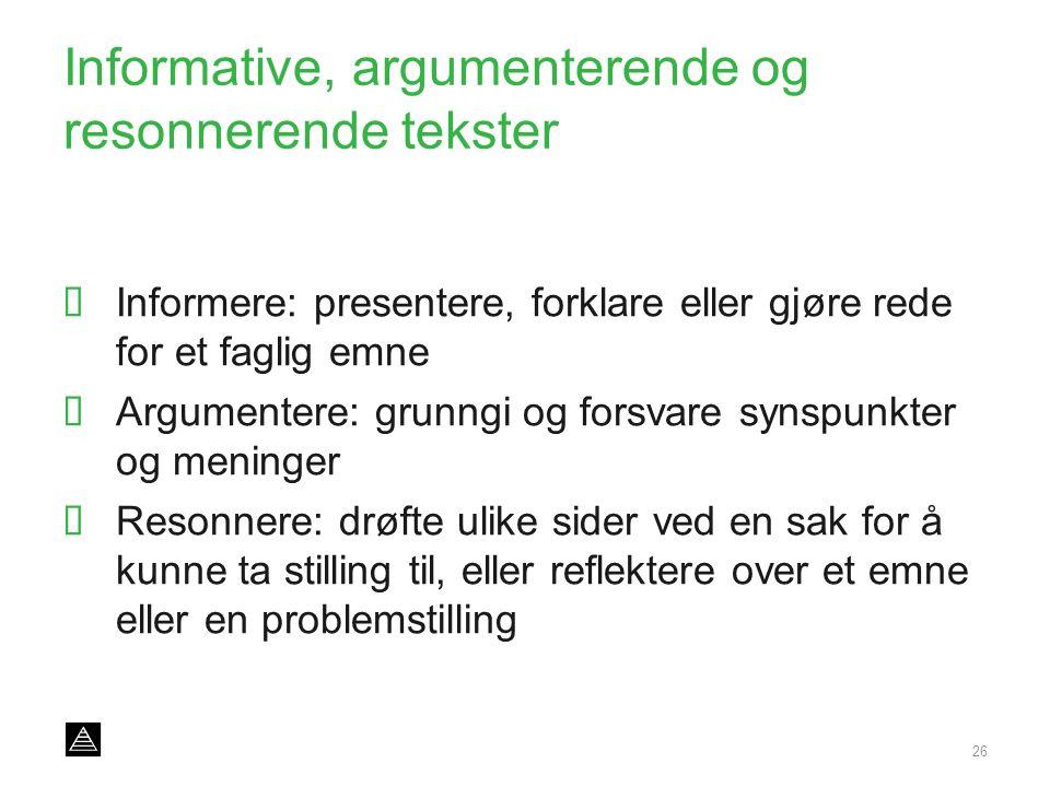 Informative, argumenterende og resonnerende tekster  Informere: presentere, forklare eller gjøre rede for et faglig emne  Argumentere: grunngi og fo