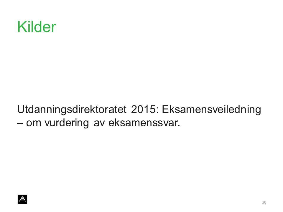 Kilder Utdanningsdirektoratet 2015: Eksamensveiledning – om vurdering av eksamenssvar. 30