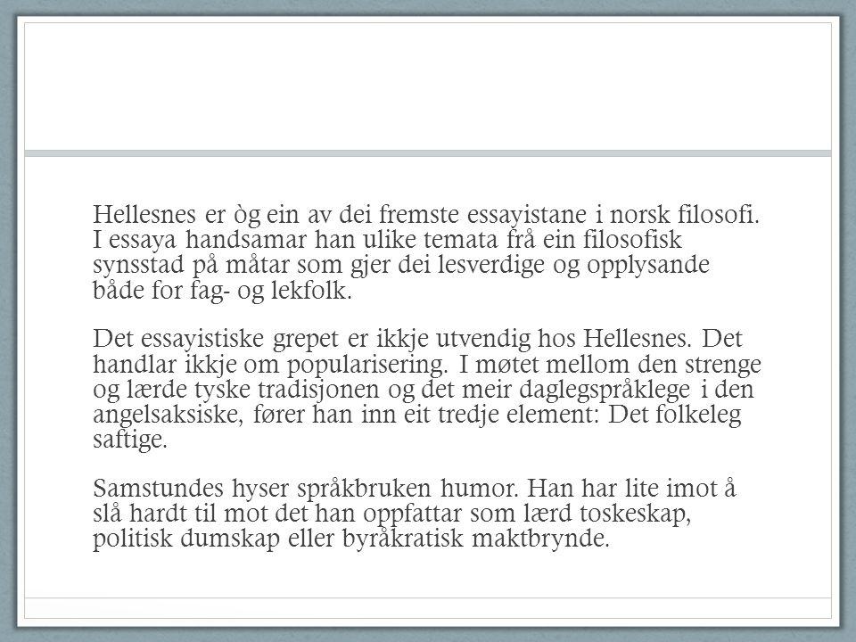 Hellesnes er òg ein av dei fremste essayistane i norsk filosofi.