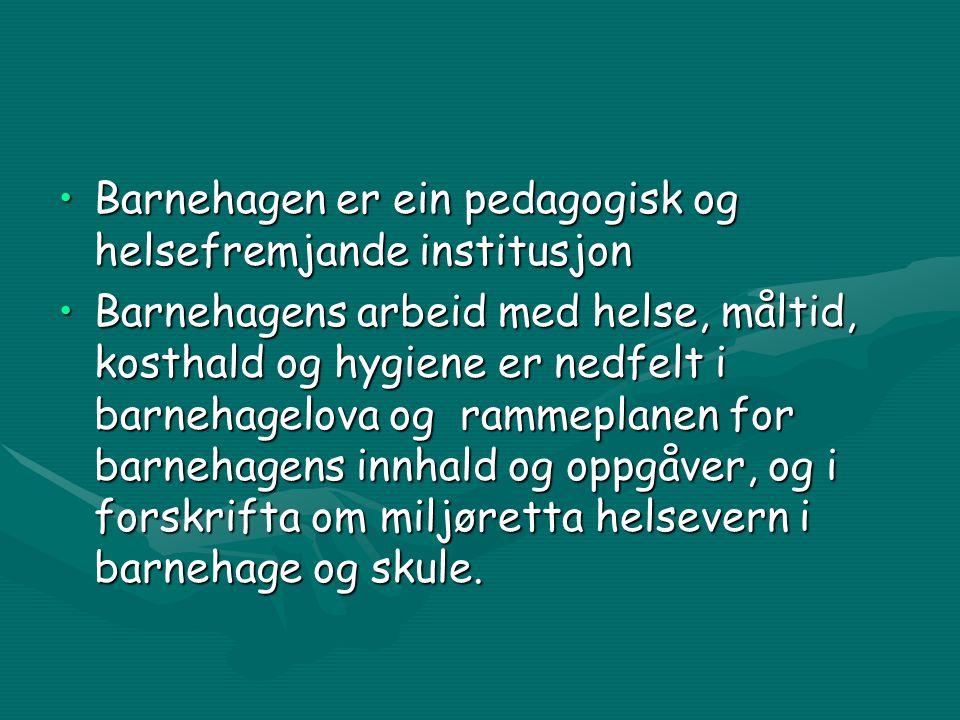 Barnehagen er ein pedagogisk og helsefremjande institusjonBarnehagen er ein pedagogisk og helsefremjande institusjon Barnehagens arbeid med helse, måltid, kosthald og hygiene er nedfelt i barnehagelova og rammeplanen for barnehagens innhald og oppgåver, og i forskrifta om miljøretta helsevern i barnehage og skule.Barnehagens arbeid med helse, måltid, kosthald og hygiene er nedfelt i barnehagelova og rammeplanen for barnehagens innhald og oppgåver, og i forskrifta om miljøretta helsevern i barnehage og skule.