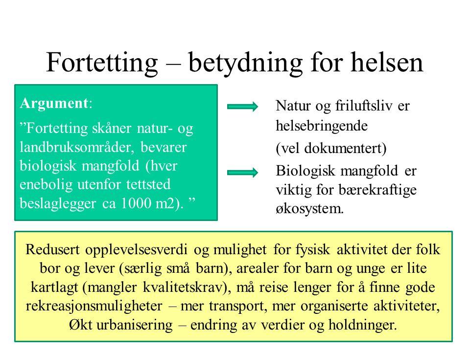 Fortetting – betydning for helsen Argument: Fortetting skåner natur- og landbruksområder, bevarer biologisk mangfold (hver enebolig utenfor tettsted beslaglegger ca 1000 m2).
