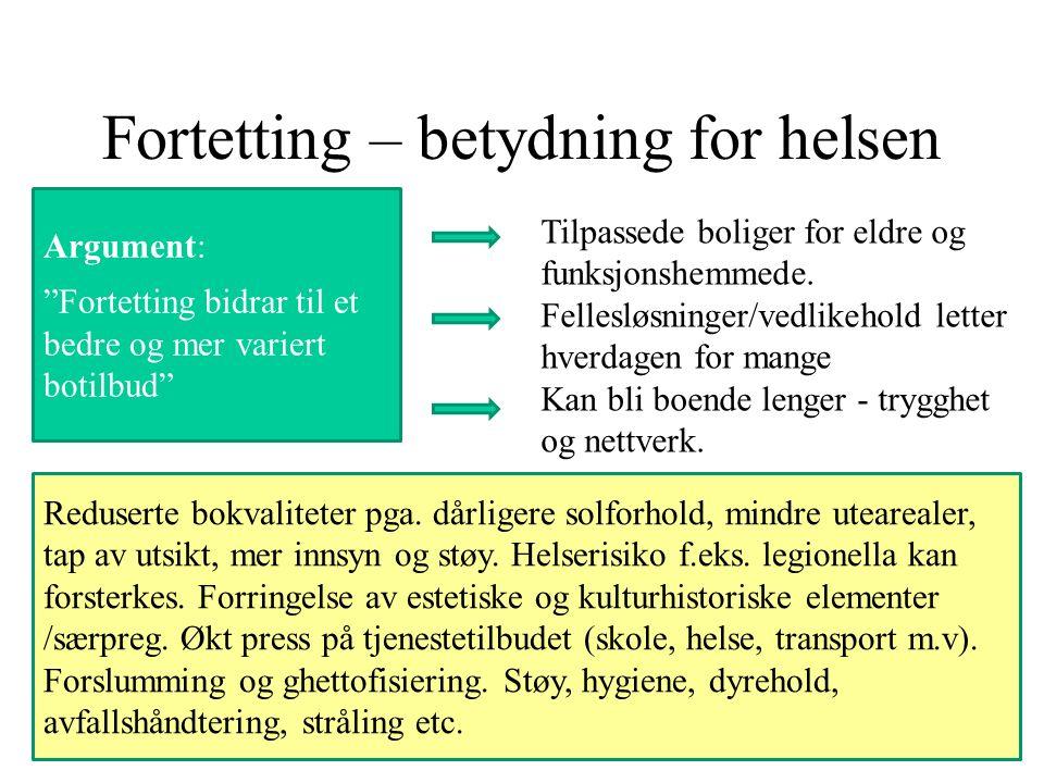 Fortetting – betydning for helsen Argument: Fortetting bidrar til et bedre og mer variert botilbud Reduserte bokvaliteter pga.