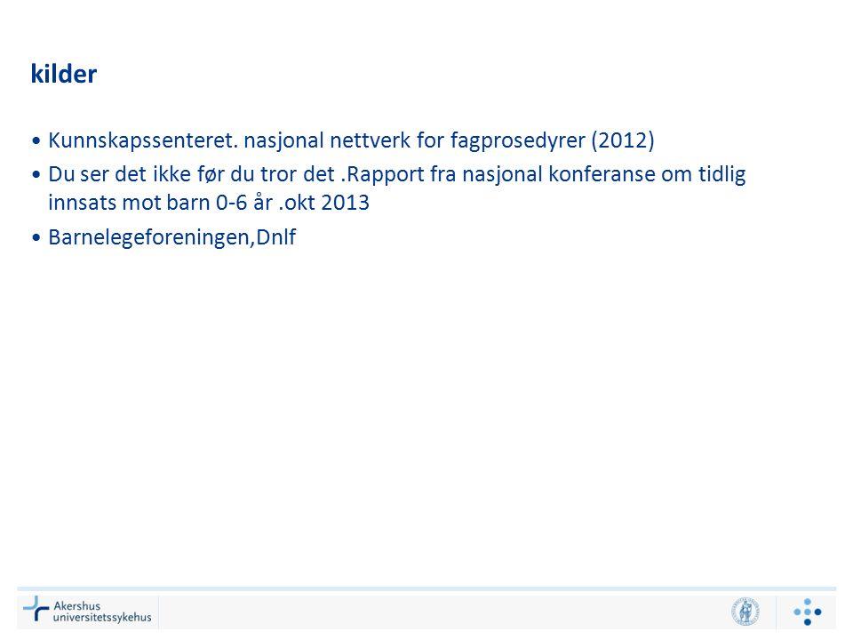 kilder Kunnskapssenteret. nasjonal nettverk for fagprosedyrer (2012) Du ser det ikke før du tror det.Rapport fra nasjonal konferanse om tidlig innsats