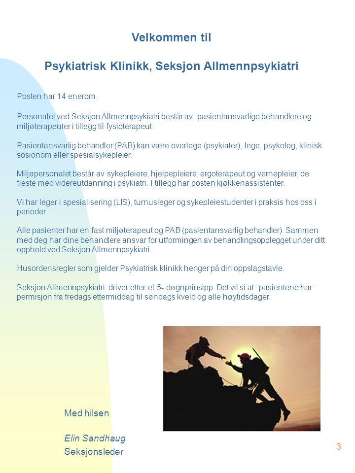 3 Velkommen til Psykiatrisk Klinikk, Seksjon Allmennpsykiatri Posten har 14 enerom.