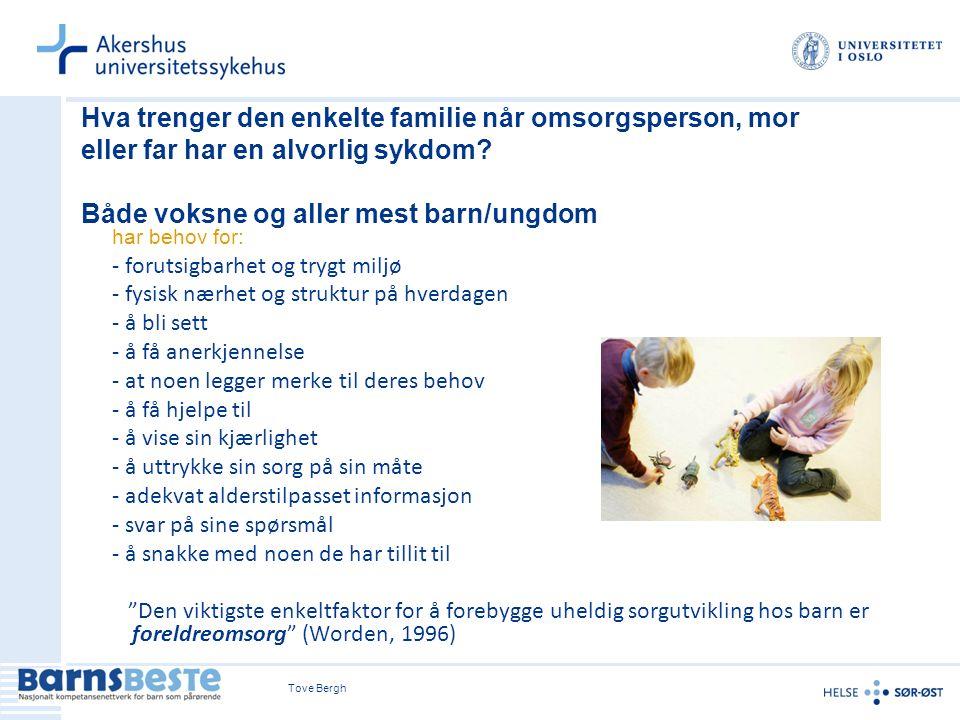Tove Bergh Hva trenger den enkelte familie når omsorgsperson, mor eller far har en alvorlig sykdom.