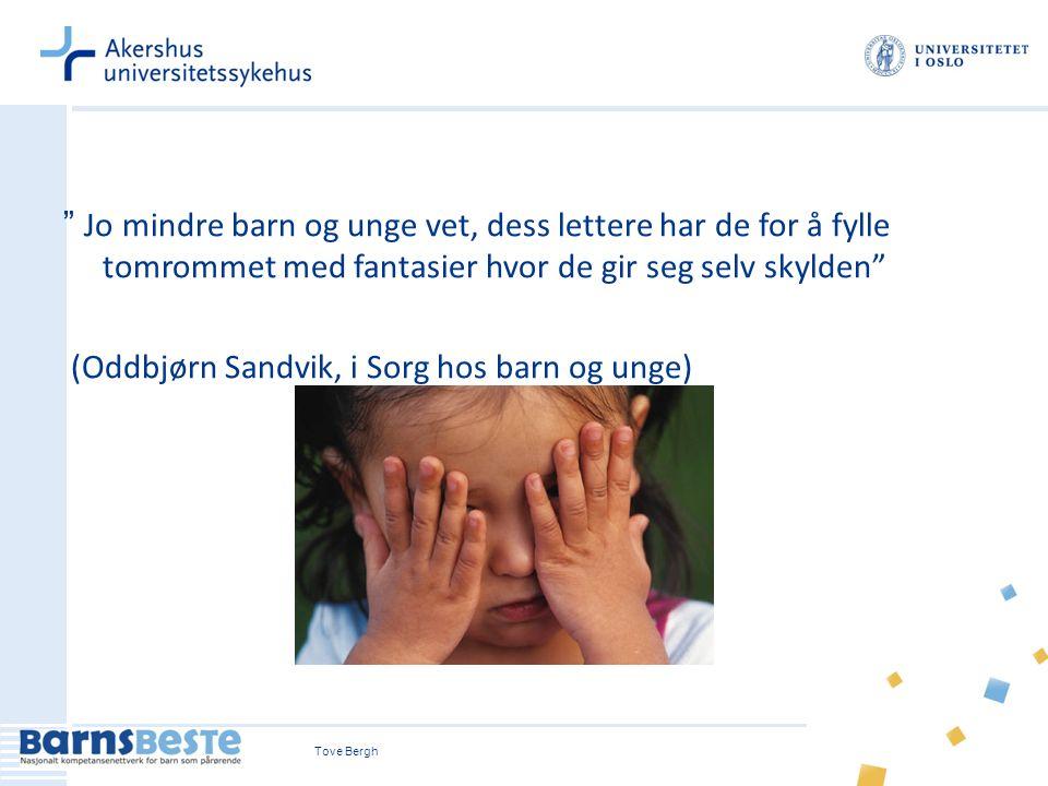Tove Bergh9 Jo mindre barn og unge vet, dess lettere har de for å fylle tomrommet med fantasier hvor de gir seg selv skylden (Oddbjørn Sandvik, i Sorg hos barn og unge)