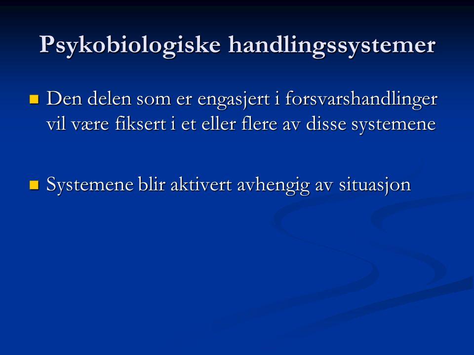 Psykobiologiske handlingssystemer knyttet til emosjonell del av personligheten Forsvarssystemer: Forsvarssystemer: Tilknytningsgråt (attachment cry) T