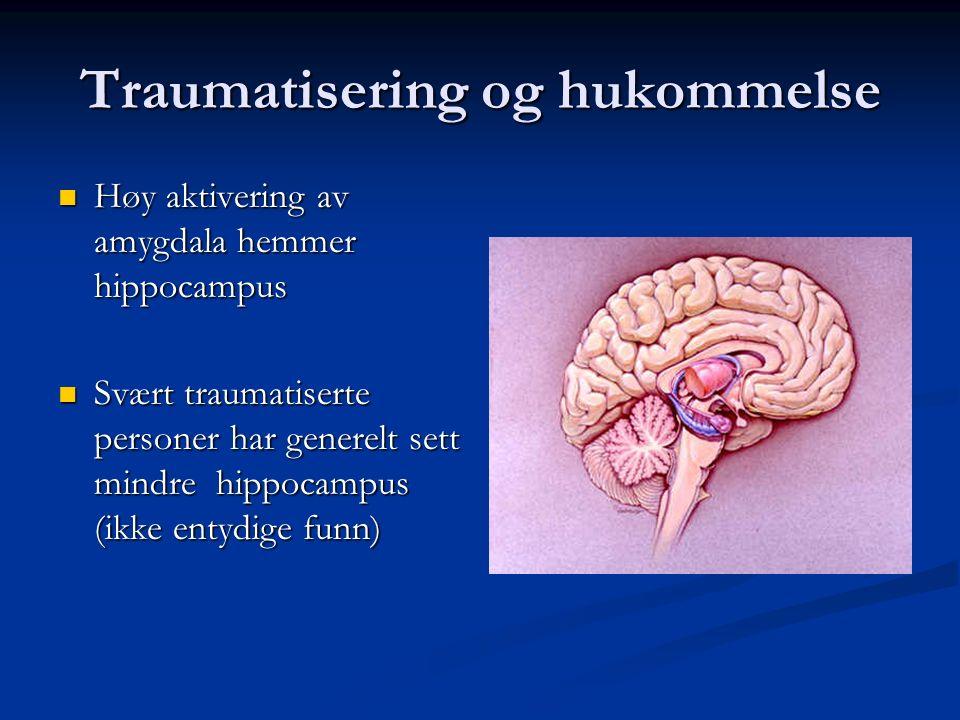Traumatisering og hukommelse Amygdala Amygdala - fungerer som alarmsentral - er knyttet til implisitt hukommelse Hippocampus – Hippocampus – - organis