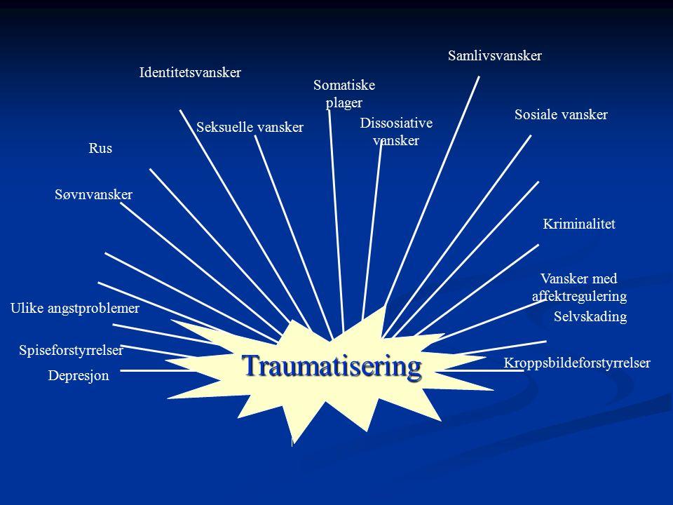 Konsekvenser av omfattende traumatisering Helseproblemer Helseproblemer Somatiske helseproblemer Somatiske helseproblemer Høyrisiko helseatferd Høyris
