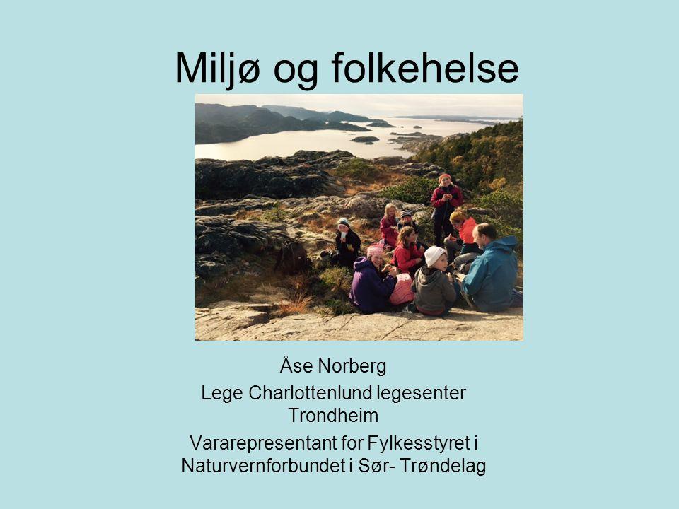 Miljø og folkehelse Åse Norberg Lege Charlottenlund legesenter Trondheim Vararepresentant for Fylkesstyret i Naturvernforbundet i Sør- Trøndelag