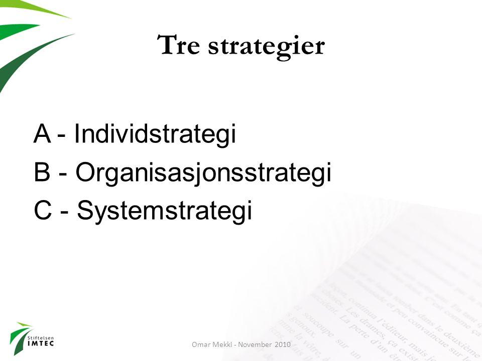 Tre strategier A - Individstrategi B - Organisasjonsstrategi C - Systemstrategi Omar Mekki - November 2010