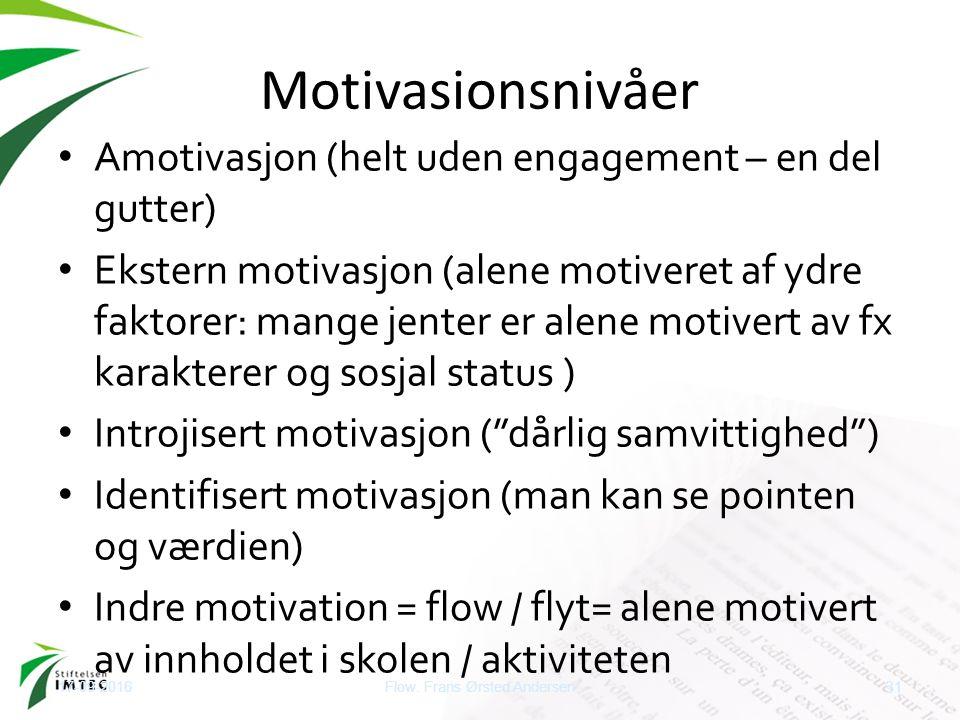 Motivasionsnivåer Amotivasjon (helt uden engagement – en del gutter) Ekstern motivasjon (alene motiveret af ydre faktorer: mange jenter er alene motiv