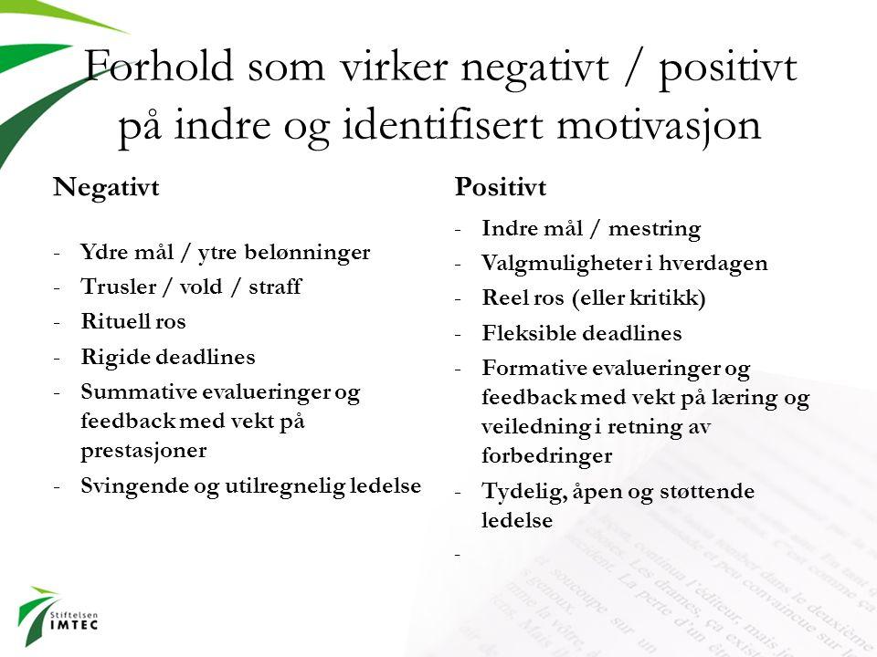 Forhold som virker negativt / positivt på indre og identifisert motivasjon Negativt -Ydre mål / ytre belønninger -Trusler / vold / straff -Rituell ros