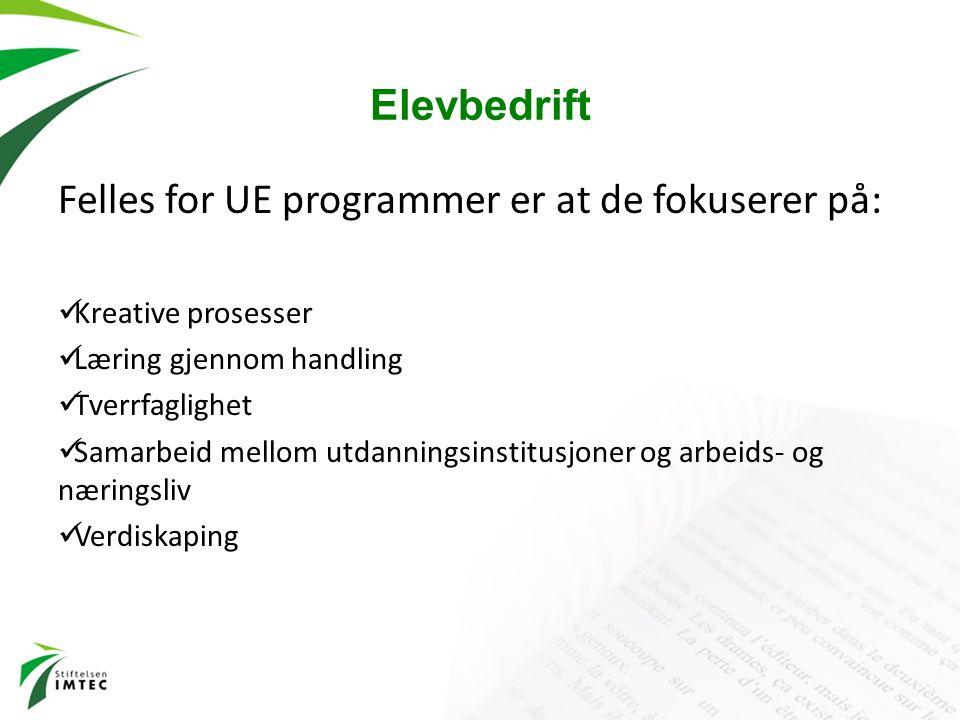 Elevbedrift Felles for UE programmer er at de fokuserer på: Kreative prosesser Læring gjennom handling Tverrfaglighet Samarbeid mellom utdanningsinsti