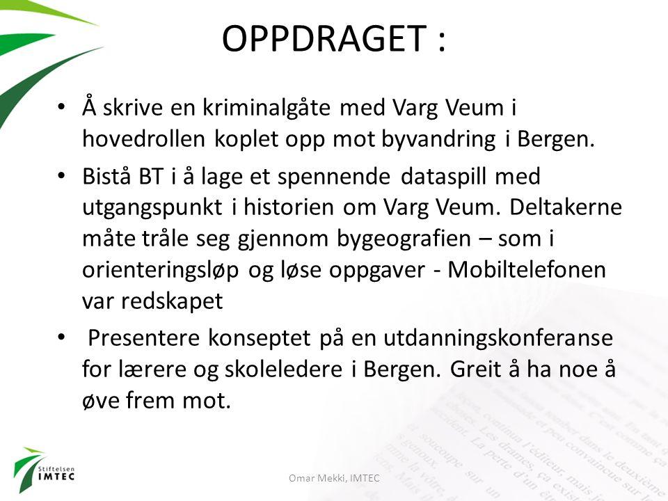 OPPDRAGET : Å skrive en kriminalgåte med Varg Veum i hovedrollen koplet opp mot byvandring i Bergen. Bistå BT i å lage et spennende dataspill med utga
