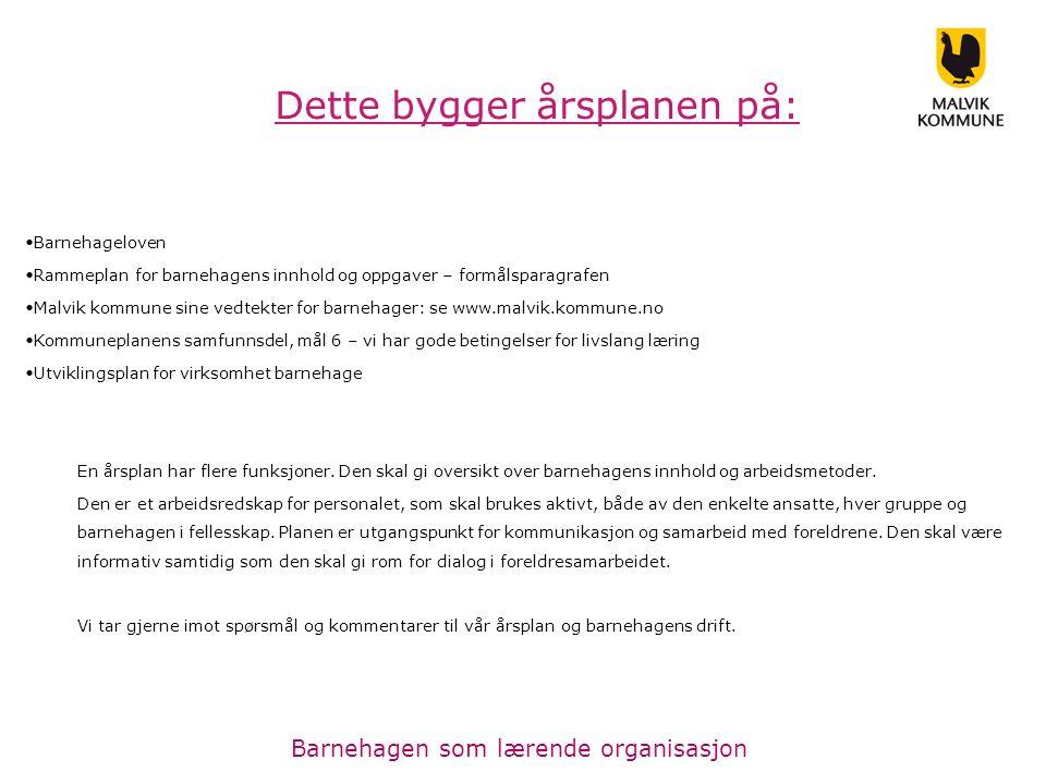 Barnehageloven Rammeplan for barnehagens innhold og oppgaver – formålsparagrafen Malvik kommune sine vedtekter for barnehager: se www.malvik.kommune.n