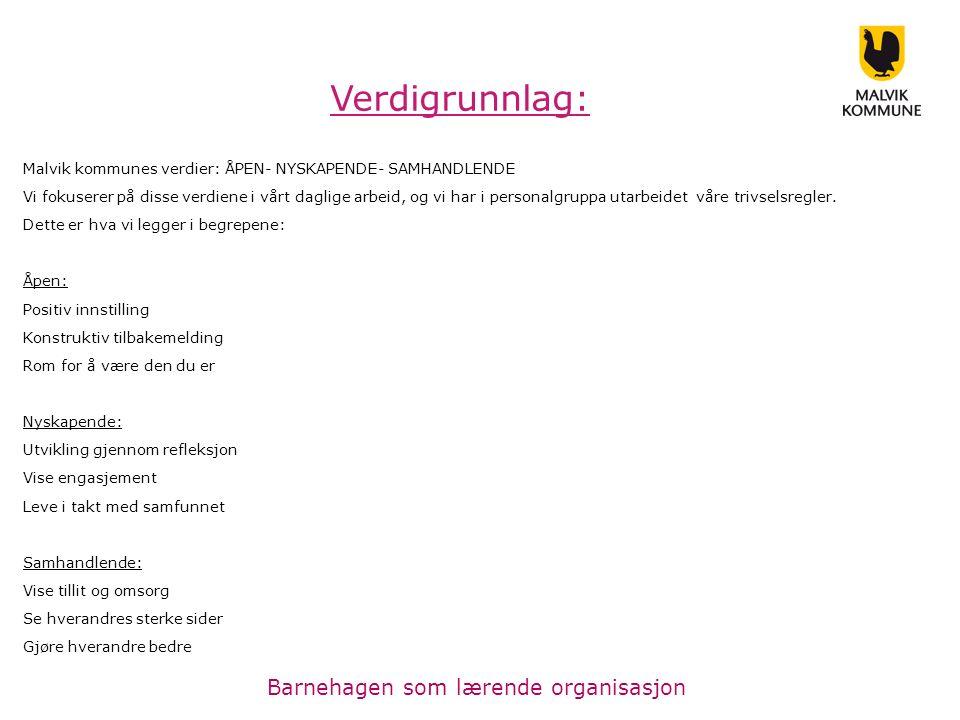 Malvik kommunes verdier: ÅPEN- NYSKAPENDE- SAMHANDLENDE Vi fokuserer på disse verdiene i vårt daglige arbeid, og vi har i personalgruppa utarbeidet våre trivselsregler.