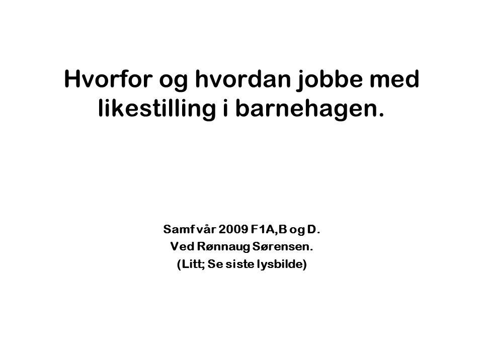 Likestillingspause.Norge det mest kjønnsdelte arbeidsmarkedet i Europa.
