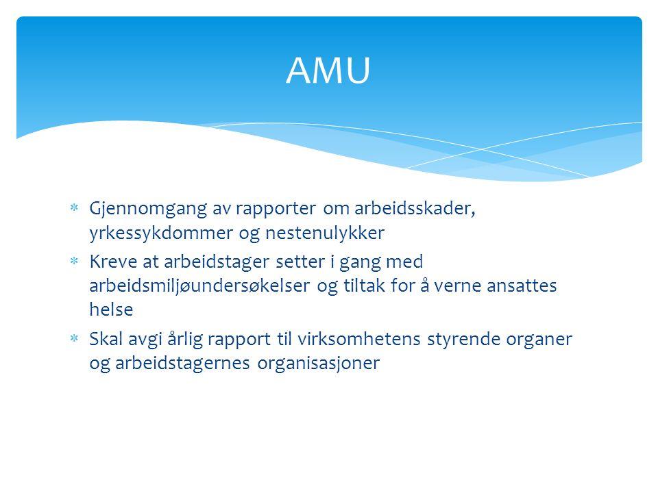  Gjennomgang av rapporter om arbeidsskader, yrkessykdommer og nestenulykker  Kreve at arbeidstager setter i gang med arbeidsmiljøundersøkelser og tiltak for å verne ansattes helse  Skal avgi årlig rapport til virksomhetens styrende organer og arbeidstagernes organisasjoner AMU