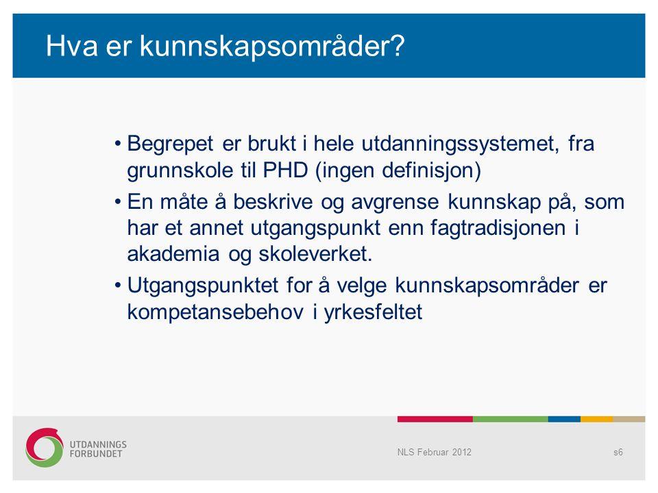 NLS Februar 2012s7 StudieårKunnskapsområdets navnStudiepoeng 1.