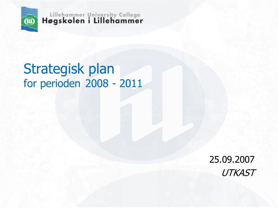 www.hil.no Strategisk plan 2008 – 2011 Oppbygging Om Høgskolen i Lillehammer Innledning v/rektor Samfunnsoppdrag Verdigrunnlag Visjon Overordna mål 5 målområder 1.
