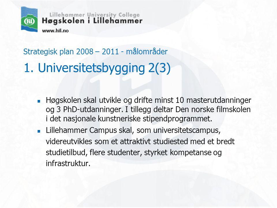 www.hil.no Strategisk plan 2008 – 2011 - målområder 1. Universitetsbygging 2(3) Høgskolen skal utvikle og drifte minst 10 masterutdanninger og 3 PhD-