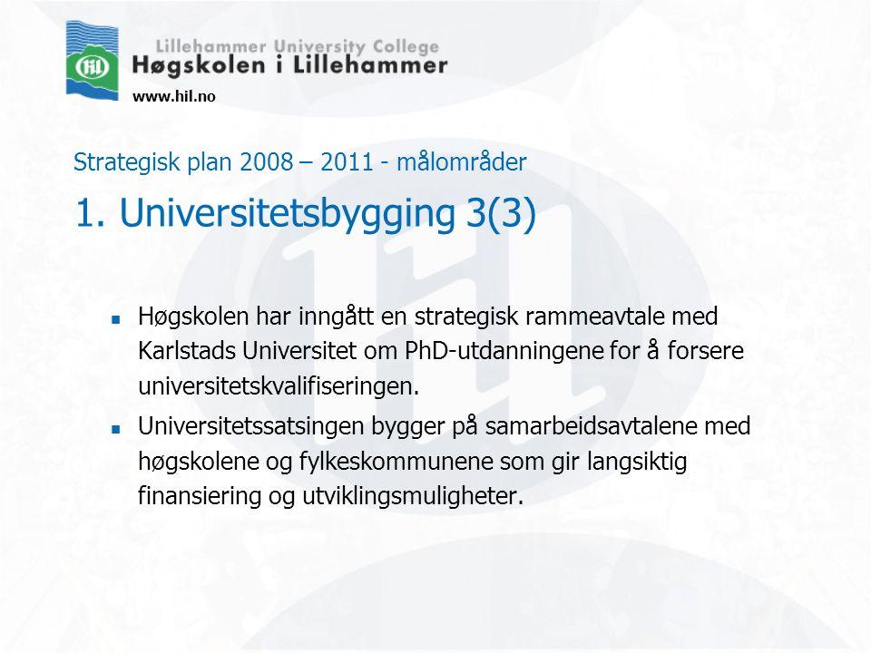 www.hil.no Strategisk plan 2008 – 2011 - målområder 1. Universitetsbygging 3(3) Høgskolen har inngått en strategisk rammeavtale med Karlstads Universi