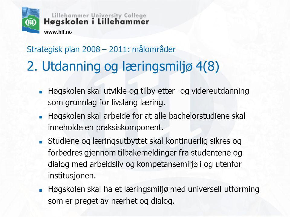 www.hil.no Strategisk plan 2008 – 2011: målområder 2. Utdanning og læringsmiljø 4(8) Høgskolen skal utvikle og tilby etter- og videreutdanning som gru