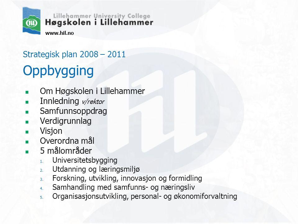 www.hil.no Strategisk plan 2008 – 2011 Oppbygging Om Høgskolen i Lillehammer Innledning v/rektor Samfunnsoppdrag Verdigrunnlag Visjon Overordna mål 5