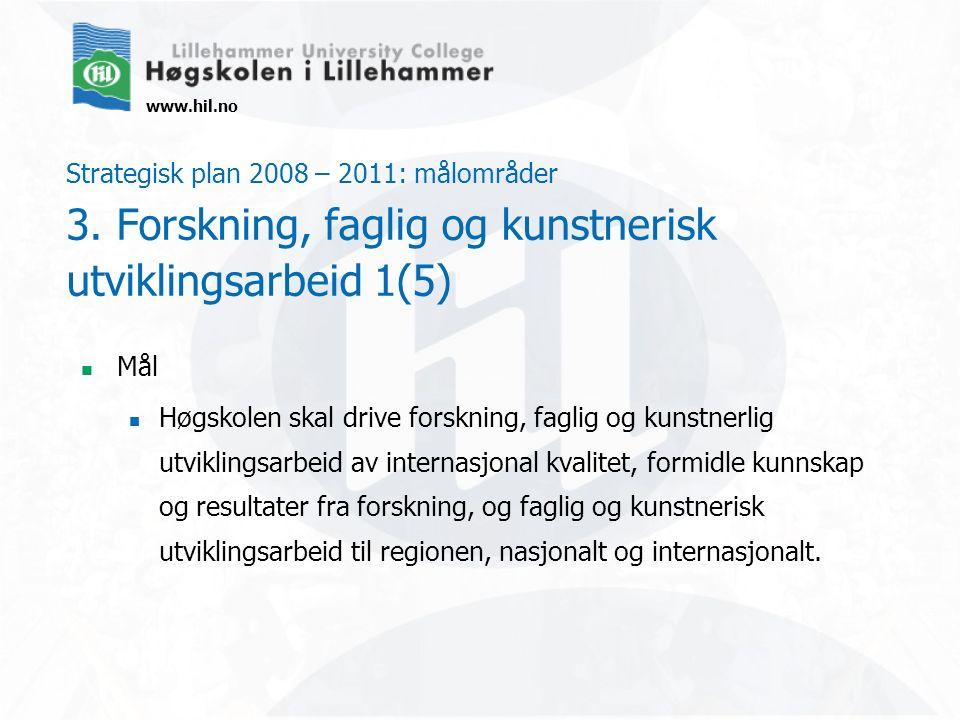 www.hil.no Strategisk plan 2008 – 2011: målområder 3. Forskning, faglig og kunstnerisk utviklingsarbeid 1(5) Mål Høgskolen skal drive forskning, fagli