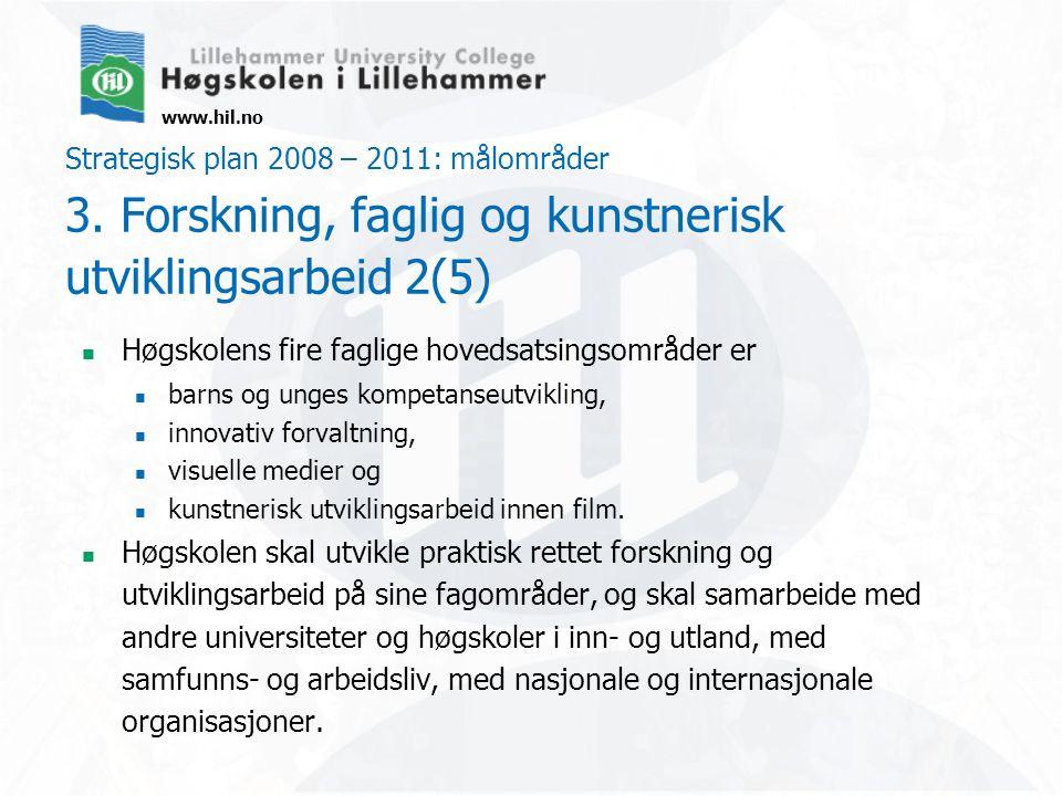 www.hil.no Strategisk plan 2008 – 2011: målområder 3. Forskning, faglig og kunstnerisk utviklingsarbeid 2(5) Høgskolens fire faglige hovedsatsingsområ