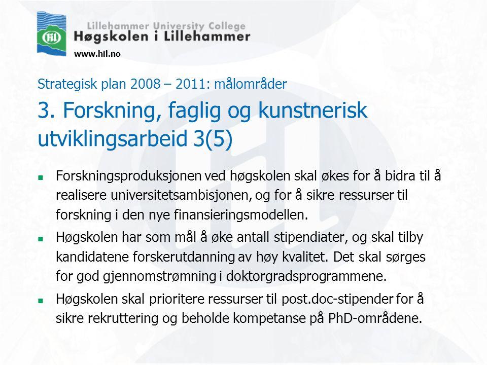 www.hil.no Strategisk plan 2008 – 2011: målområder 3. Forskning, faglig og kunstnerisk utviklingsarbeid 3(5) Forskningsproduksjonen ved høgskolen skal