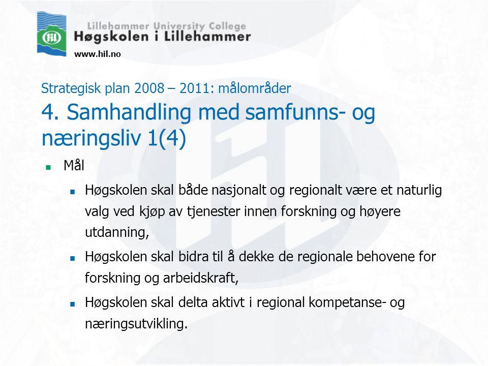 www.hil.no Strategisk plan 2008 – 2011: målområder 4. Samhandling med samfunns- og næringsliv 1(4) Mål Høgskolen skal både nasjonalt og regionalt være