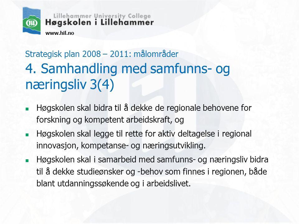www.hil.no Strategisk plan 2008 – 2011: målområder 4. Samhandling med samfunns- og næringsliv 3(4) Høgskolen skal bidra til å dekke de regionale behov
