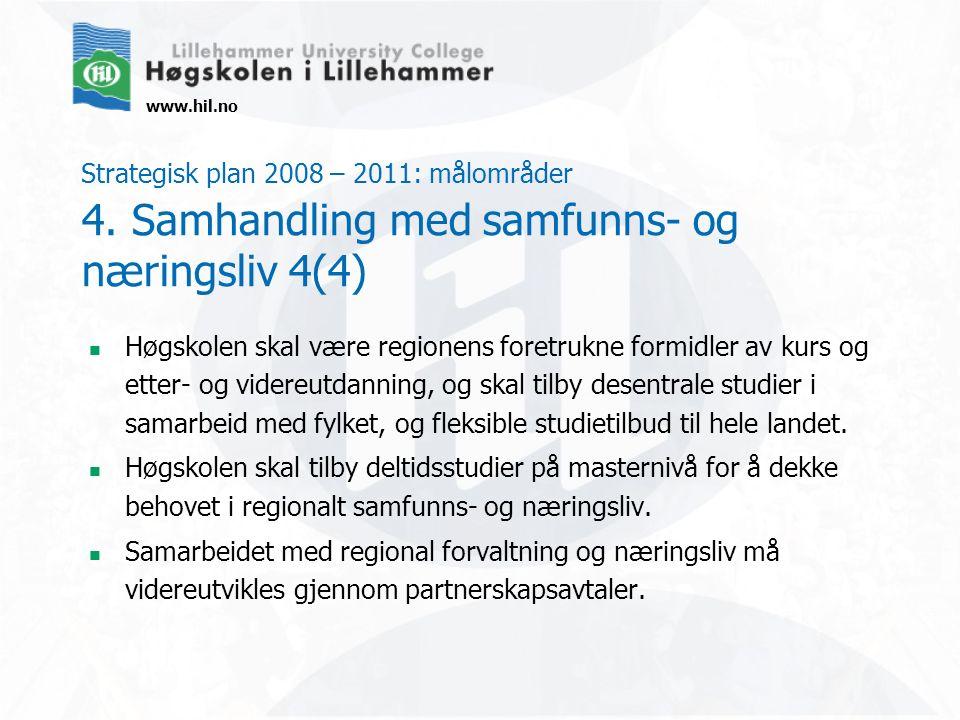 www.hil.no Strategisk plan 2008 – 2011: målområder 4. Samhandling med samfunns- og næringsliv 4(4) Høgskolen skal være regionens foretrukne formidler
