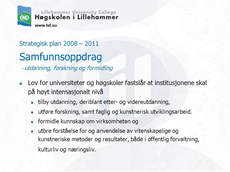 www.hil.no Strategisk plan 2008 – 2011 Verdigrunnlag – å penhet, nærhet, dialog og respekt Høgskolen i Lillehammer er en åpen høgskole som bygger på intellektuell og akademisk frihet.