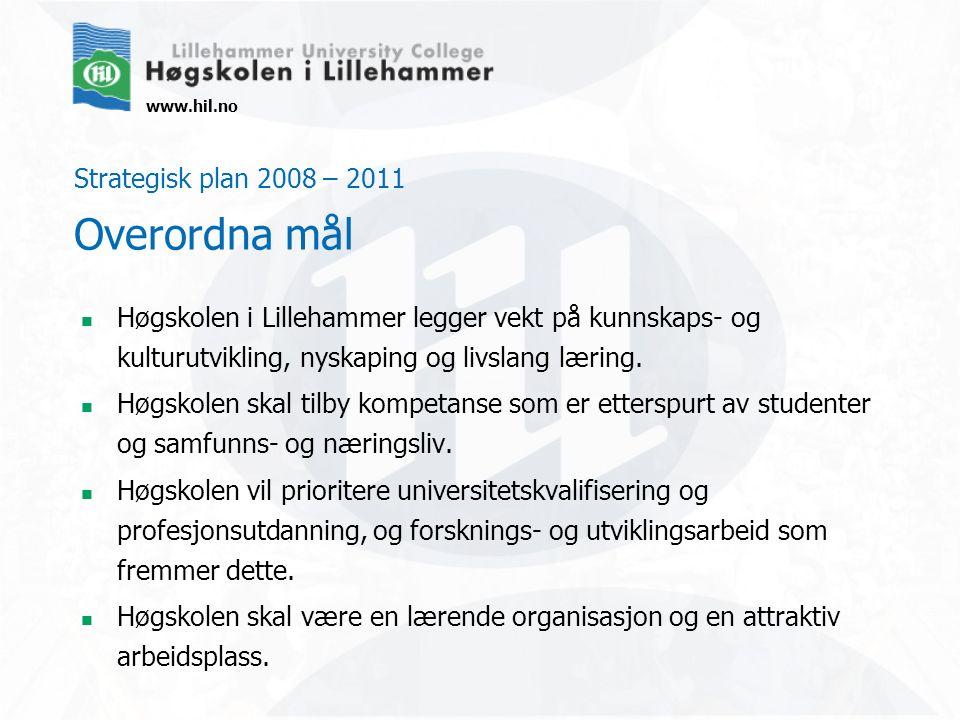 www.hil.no Strategisk plan 2008 – 2011 Overordna mål Høgskolen i Lillehammer legger vekt på kunnskaps- og kulturutvikling, nyskaping og livslang lærin