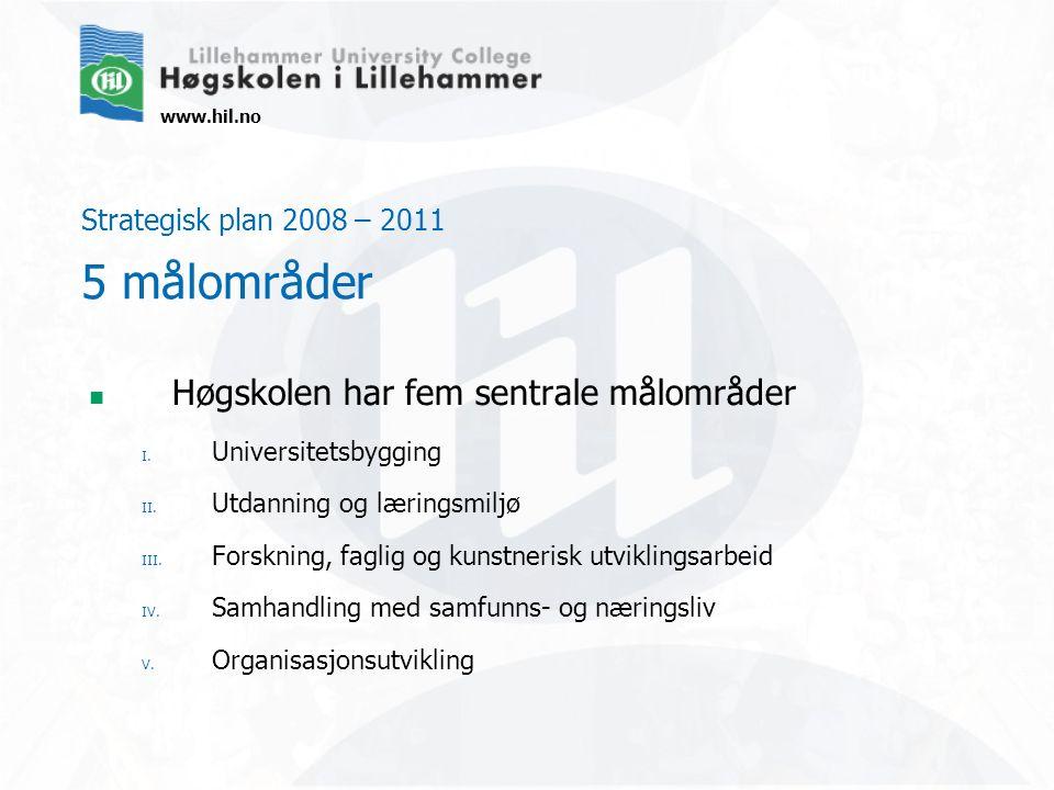www.hil.no Strategisk plan 2008 – 2011 5 målområder Høgskolen har fem sentrale målområder I. Universitetsbygging II. Utdanning og læringsmiljø III. Fo