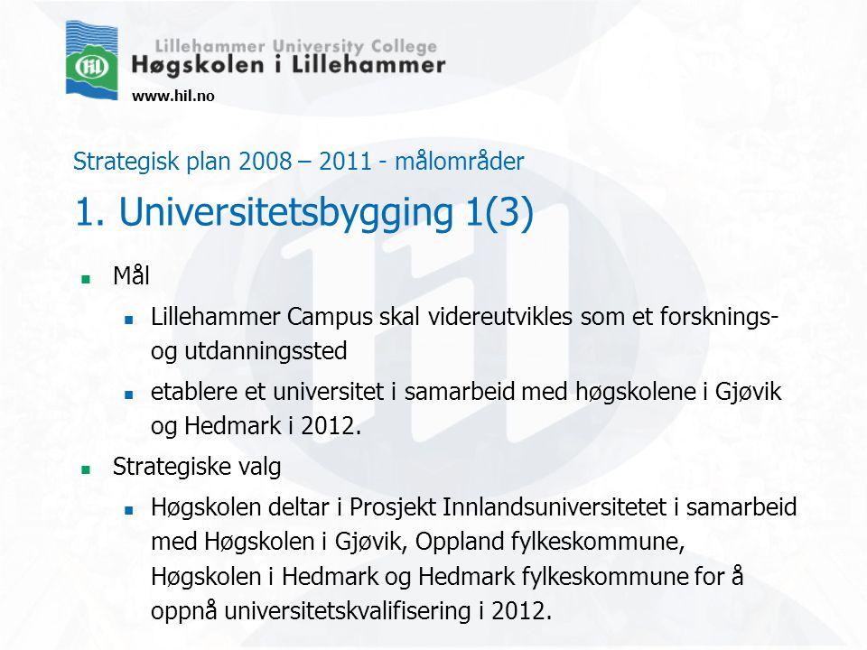 www.hil.no Strategisk plan 2008 – 2011 - målområder 1. Universitetsbygging 1(3) Mål Lillehammer Campus skal videreutvikles som et forsknings- og utdan