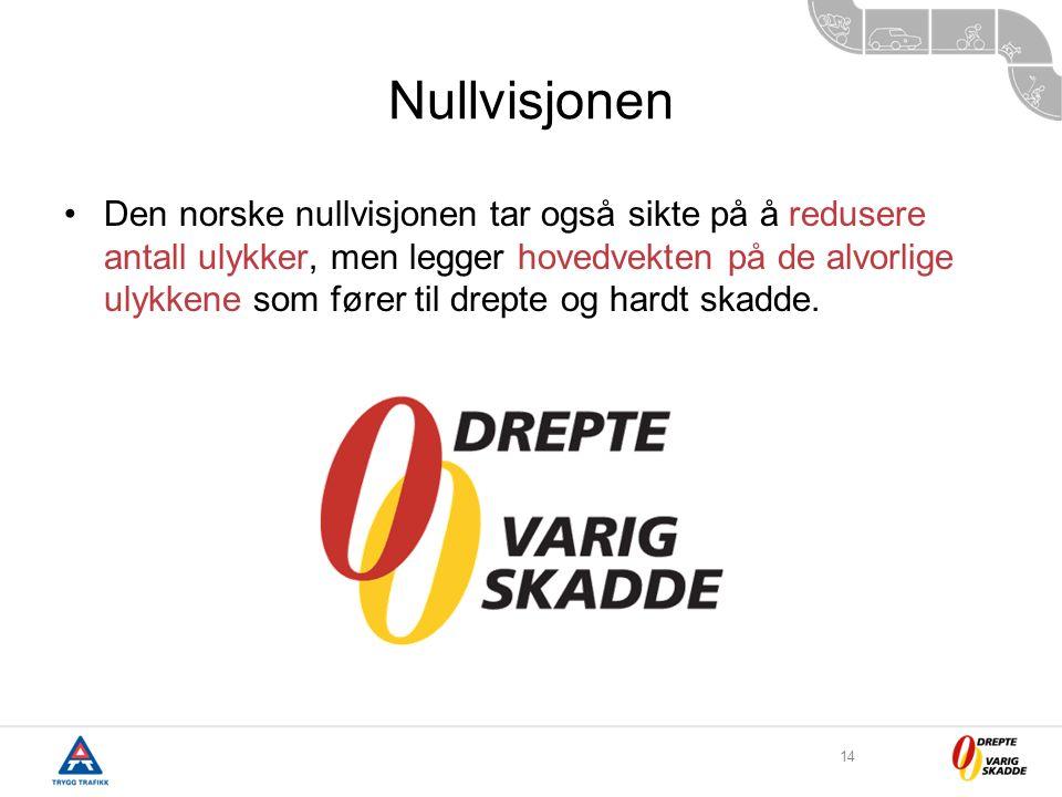 14 Nullvisjonen Den norske nullvisjonen tar også sikte på å redusere antall ulykker, men legger hovedvekten på de alvorlige ulykkene som fører til drepte og hardt skadde.