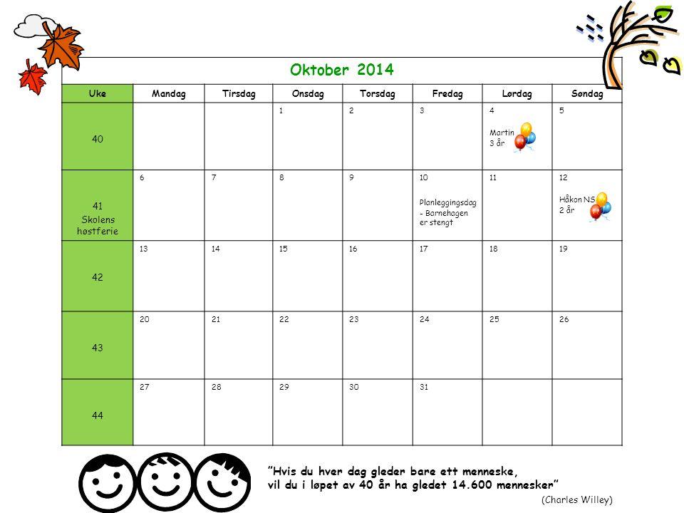 Oktober 2014 UkeMandagTirsdagOnsdagTorsdagFredagLørdagSøndag 40 1234 Martin 3 år 5 41 Skolens høstferie 678910 Planleggingsdag - Barnehagen er stengt
