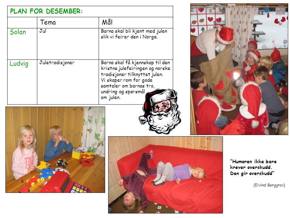 PLAN FOR DESEMBER: TemaMål Solan JulBarna skal bli kjent med julen slik vi feirer den i Norge. Ludvig JuletradisjonerBarna skal få kjennskap til den k