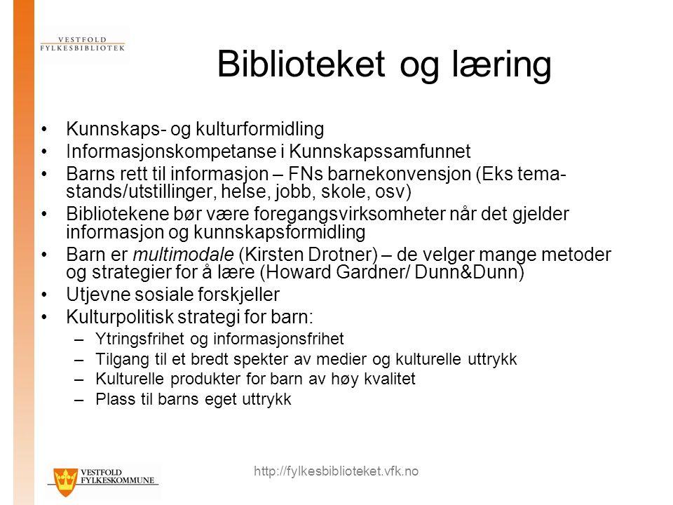 http://fylkesbiblioteket.vfk.no Biblioteket og læring Kunnskaps- og kulturformidling Informasjonskompetanse i Kunnskapssamfunnet Barns rett til inform