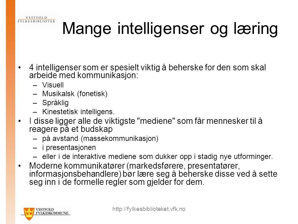 http://fylkesbiblioteket.vfk.no Mange intelligenser og læring 4 intelligenser som er spesielt viktig å beherske for den som skal arbeide med kommunikasjon: –Visuell –Musikalsk (fonetisk) –Språklig –Kinestetisk intelligens.