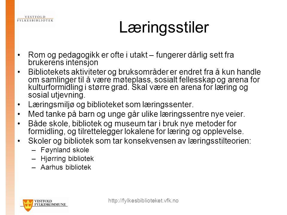 http://fylkesbiblioteket.vfk.no Læringsstiler Rom og pedagogikk er ofte i utakt – fungerer dårlig sett fra brukerens intensjon Bibliotekets aktivitete