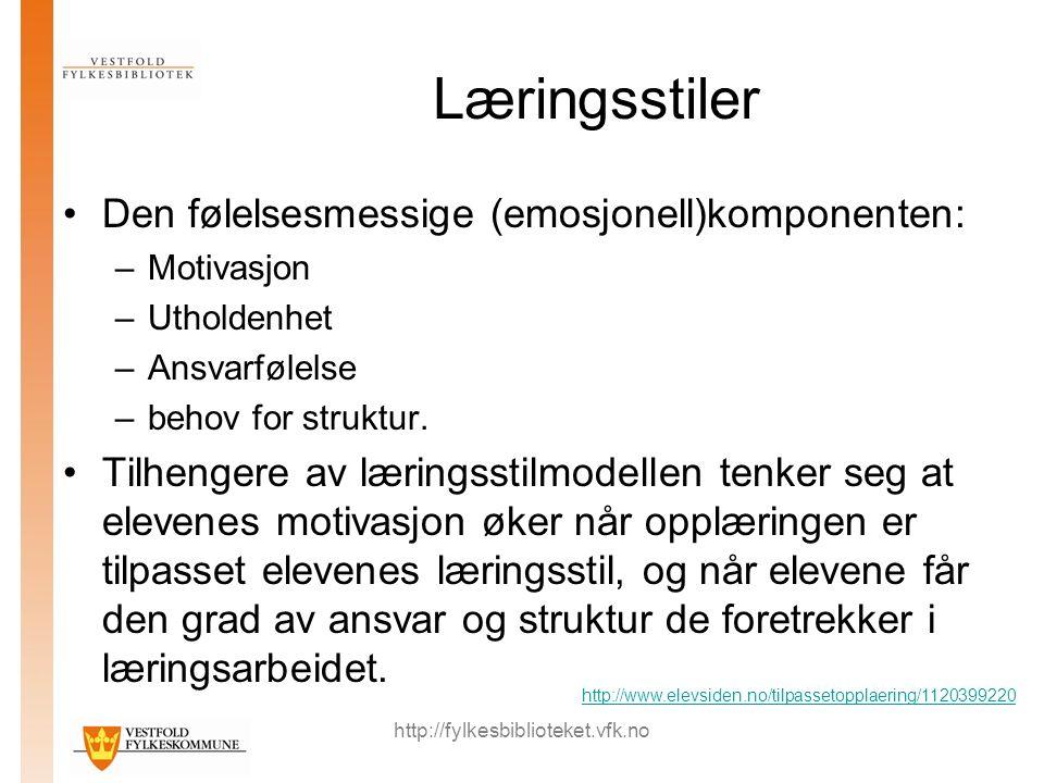http://fylkesbiblioteket.vfk.no Læringsstiler Den følelsesmessige (emosjonell)komponenten: –Motivasjon –Utholdenhet –Ansvarfølelse –behov for struktur